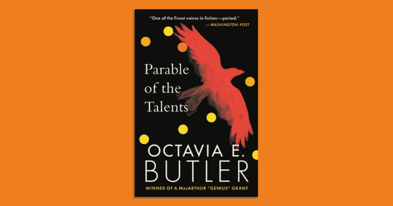 The book cover of Parable of the Talents against a plain background.