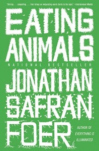 The book cover for Eating Animals by Jonathan Safran Foer.