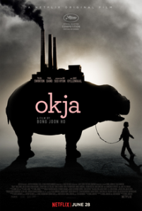 The official movie cover for Okja from Bong Joon Ho.