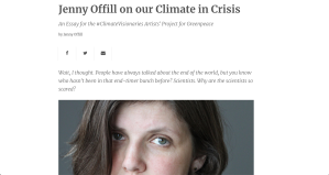 Screenshot of Jenny Offill's article in Greenpeace.