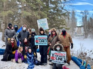 A photo of water protectors in Minnesota opposing the construction of Line 3.