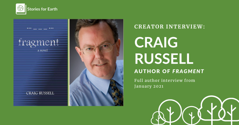 A graphic showing author Craig Russell beside the book cover for Fragment.