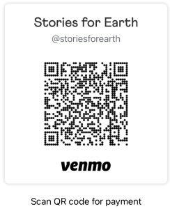 An image of a QR code for sending Stories for Earth a donation through Venmo.