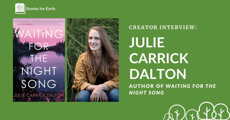 A photo of author Julie Carrick Dalton beside her novel Waiting for the Night Song.