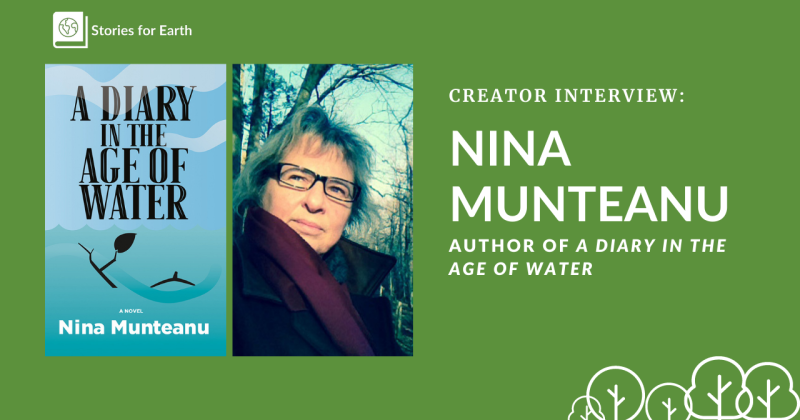 An image of Nina Munteanu next to her novel, A Diary in the Age of Water.