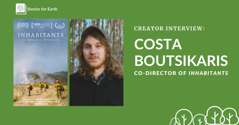 A photo of filmmaker Costa Boutsikaris next to the cover for the documentary Inhabitants.