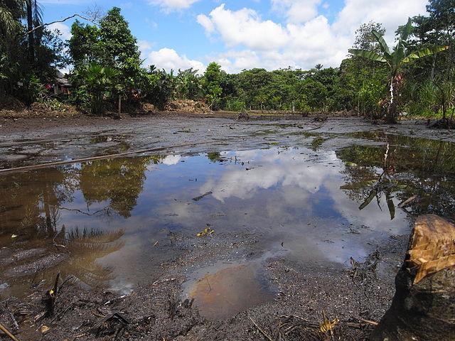 A photo of oil pollution in the Lago Agrio region in Ecuador.