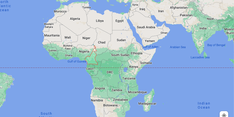 A picture of Cameroon on a world map.